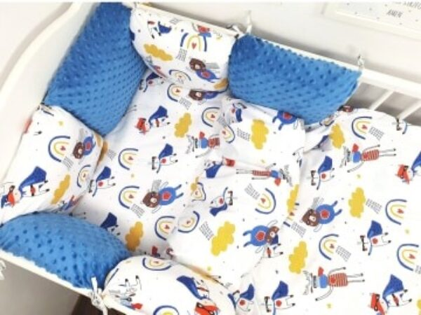 Premium Cotton bedding set with pillow bumpers- blue heroes