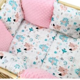 Premium Cotton bedding set with pillow bumpers- pink/mint animals