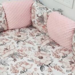 Premium Cotton bedding set with pillow bumpers- pink flowers