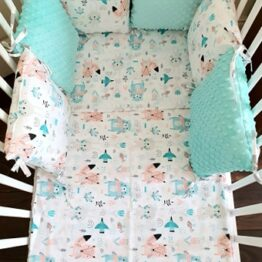 Minky & Cotton bedding set with pillow bumpers- mint animals