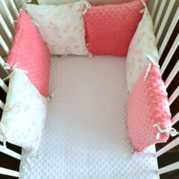 Premium pillow bumper- salmon orange rabbits