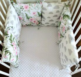 Premium pillow bumper- clouds in pink garden