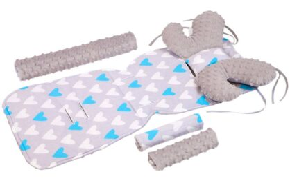Buggy seat liner in 4- piece set- grey/blue hearts