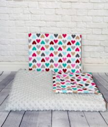 Minky blanket set- grey/colour hearts