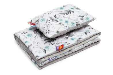 Minky blanket set- grey/mint garden