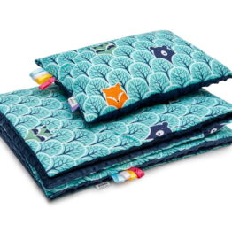 Minky blanket set- navy/mint forest