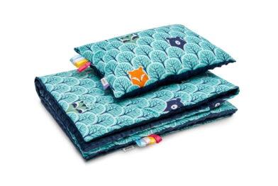 Minky blanket set- navy/mint forest
