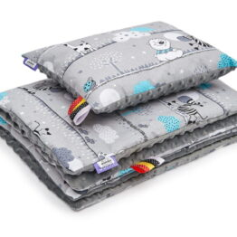 Minky blanket set- grey animals