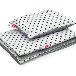 Minky blanket set- grey dots
