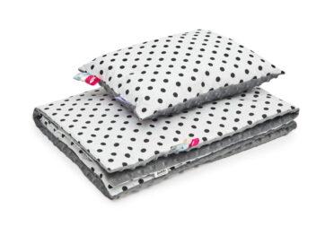 Minky blanket set- grey dots