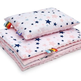 Minky blanket set- pink/ pink stars