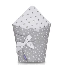 100% cotton Baby Swaddle Wrap- grey/white stars