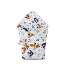 100% cotton Baby Swaddle Wrap- blue teddies