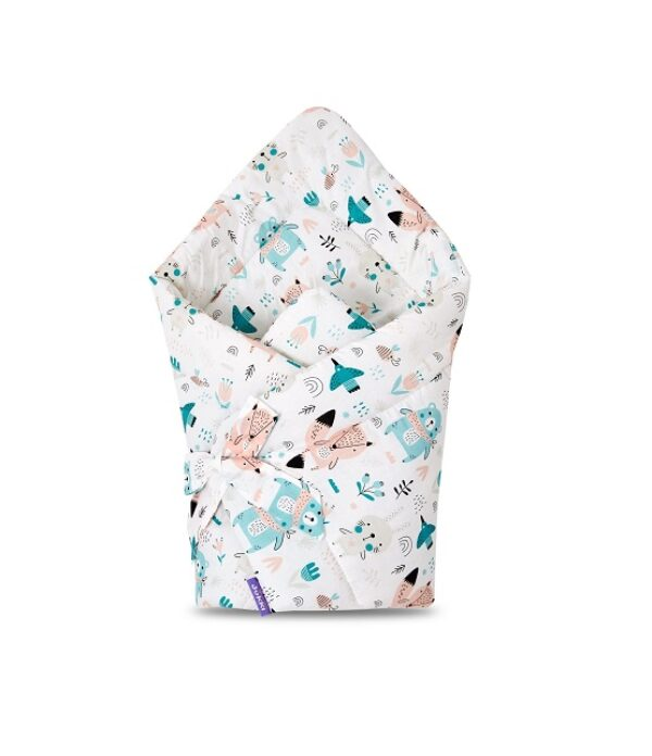 100% cotton Baby Swaddle Wrap- mint teddies