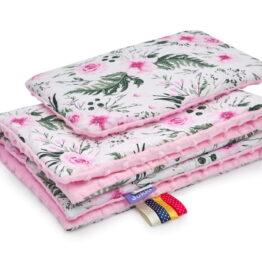 Minky blanket set-size 75x55cm/pink/pink garden