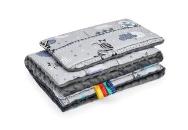 Minky blanket set-size 75x55cm/grey animals