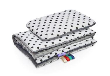 Minky blanket set-size 75x55cm/grey dots
