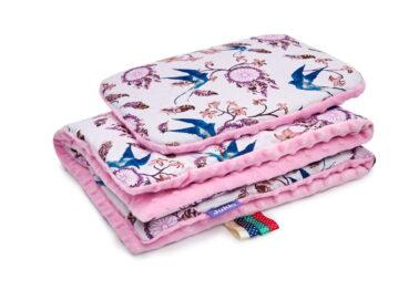 Minky blanket set-size 75x55cm/pink dream catchers