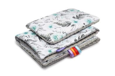 Minky blanket set-size 75x55cm/grey/mint garden