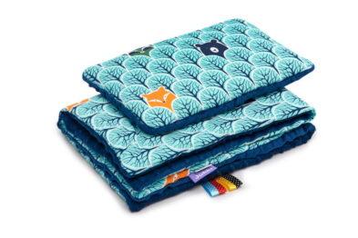 Minky blanket set-size 75x55cm/navy/mint forest