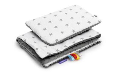 Minky blanket set-size 75x55cm/grey/grey stars
