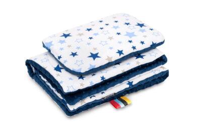 Minky blanket set-size 75x55cm/navy/blue stars