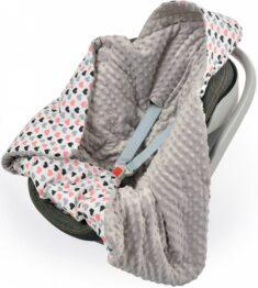 Warm Car seat blanket- grey hearts