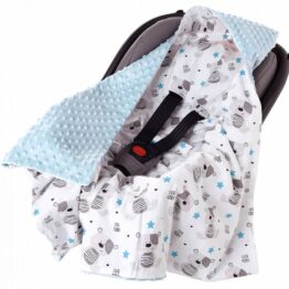 Car seat blanket- blue teddies