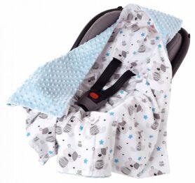 Car seat blanket- blue teddies