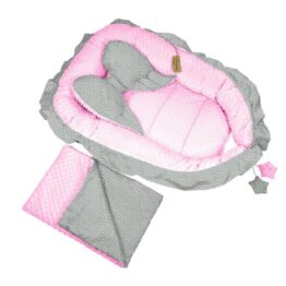 """""""Sweet Angel"""" nests- pink/grey dots"""