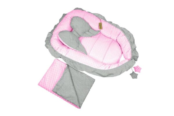 """Sweet Angel"" nests- pink/grey dots"