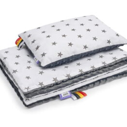 Minky blanket set- grey/ grey stars
