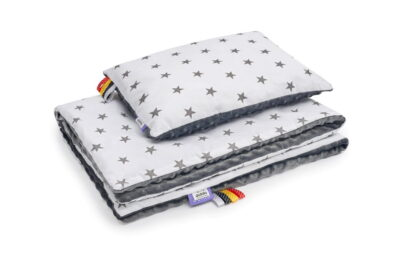 Minky blanket set- grey/ grey stars