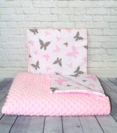 Minky blanket set- pink butterflies
