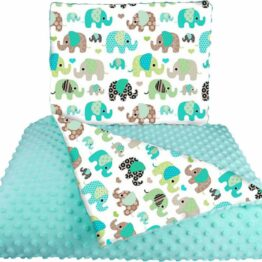 Minky blanket set- mint elephants