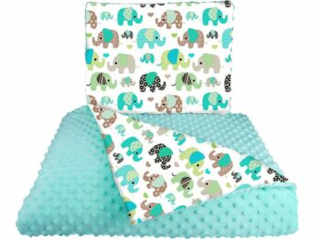Minky blanket set- mint elephants