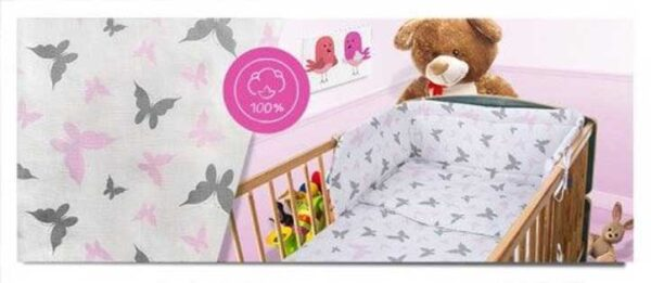 100% Cotton Bedding set- pink butterflies