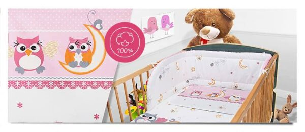 100% Cotton Bedding set- pink moon owls