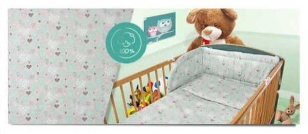 100% Cotton Bedding set- mint hearts