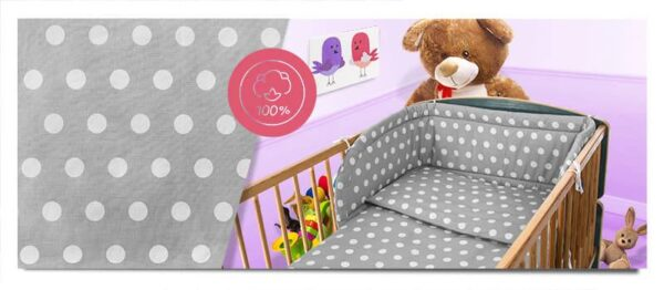100% Cotton Bedding set- grey dots