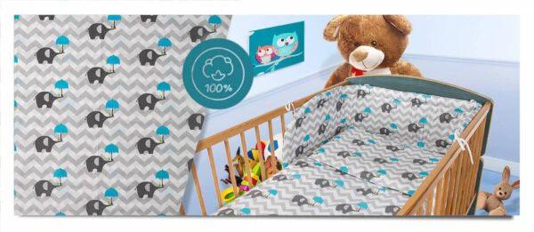 100% Cotton Bedding set- blue zigzags