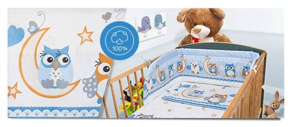 100% Cotton Bedding set- blue moon owls