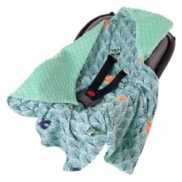 Car seat blanket- mint forest