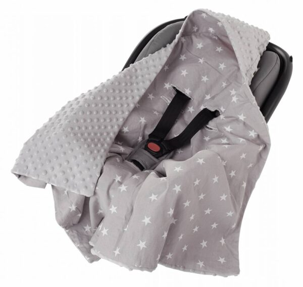 Car seat blanket- grey stars