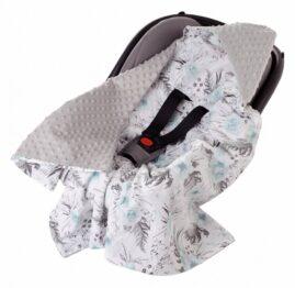 Car seat blanket- grey/blue flowers