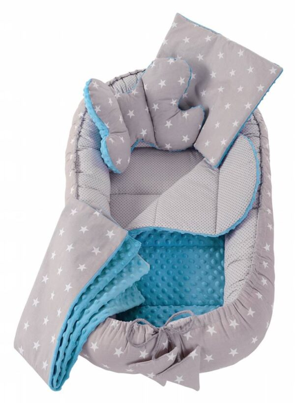 6in1 Baby Nest Set- blue/grey stars