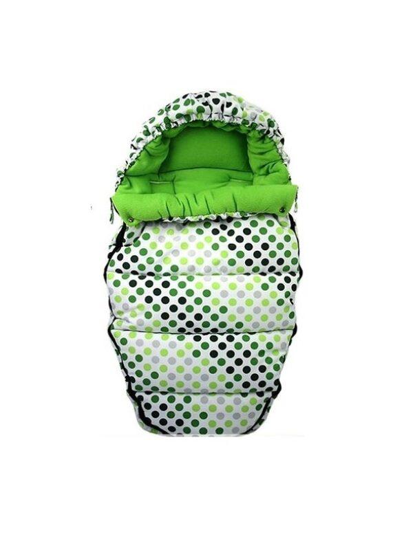 Cosy universal footmuff - green dots