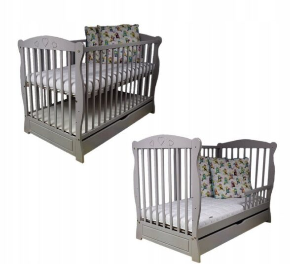 "Cot ""Grey Julia Hearts"""