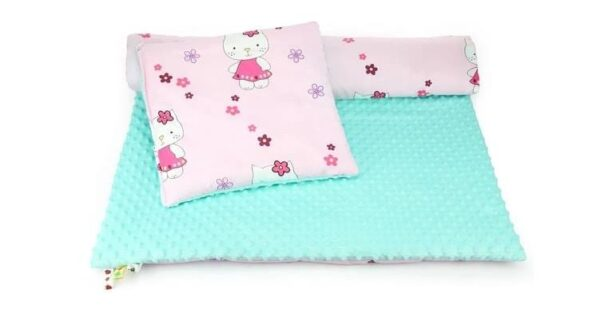 Minky & Cotton bedding set- mint hello kitty