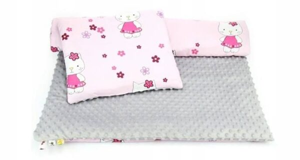 Minky & Cotton bedding set- grey hello kitty